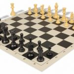 Value Club Plastic Chess Set & Board with Black & Camel Pieces – Black