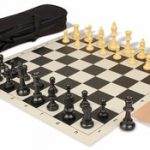 Value Club Carry-All Chess Set Package Black & Camel Pieces – Black