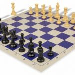 Value Club Plastic Chess Set & Board with Black & Camel Pieces – Blue