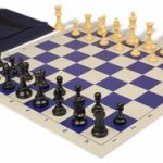 Value Club Easy Carry Chess Set Package Black & Camel Pieces – Blue