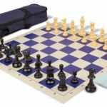 Value Club Carry-All Chess Set Package Black & Camel Pieces – Blue