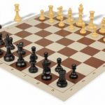 Value Club Plastic Chess Set & Board with Black & Camel Pieces – Brown
