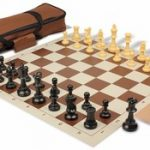 Value Club Carry-All Chess Set Package Black & Camel Pieces – Brown