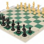 Value Club Plastic Chess Set & Board with Black & Camel Pieces – Green