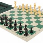 Value Club Easy Carry Chess Set Package Black & Camel Pieces – Green