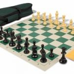 Value Club Carry-All Chess Set Package Black & Camel Pieces – Green