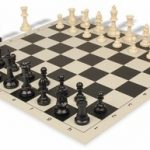 Value Club Plastic Chess Set & Board with Black & Ivory Pieces – Black