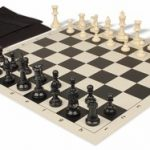 Value Club Easy Carry Chess Set Package Black & Ivory Pieces – Black