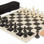 Value Club Carry-All Chess Set Package Black & Ivory Pieces – Black