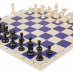 Value Club Plastic Chess Set & Board with Black & Ivory Pieces – Blue