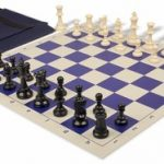 Value Club Easy Carry Chess Set Package Black & Ivory Pieces – Blue