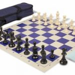 Value Club Carry-All Chess Set Package Black & Ivory Pieces – Blue