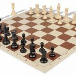 Value Club Plastic Chess Set & Board with Black & Ivory Pieces – Brown