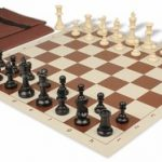 Value Club Easy Carry Chess Set Package Black & Ivory Pieces – Brown