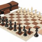 Value Club Carry-All Chess Set Package Black & Ivory Pieces – Brown