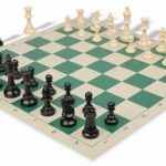 Value Club Plastic Chess Set & Board with Black & Ivory Pieces – Green