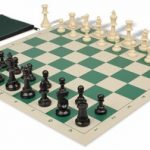 Value Club Classroom Chess Set Package Black & Ivory Pieces – Green