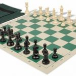 Value Club Easy Carry Chess Set Package Black & Ivory Pieces – Green