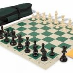 Value Club Carry-All Chess Set Package Black & Ivory Pieces – Green