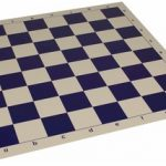 Club Vinyl Rollup Chess Board Blue & Buff – 2.25″ Squares
