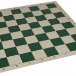 Club Vinyl Rollup Chess Board Green & Buff – 2.25″ Squares
