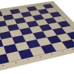 Club Vinyl Rollup Chess Board Blue & Buff – 2.375″ Squares