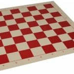Club Vinyl Rollup Chess Board Red & Buff – 2.375″ Squares