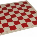 Club Vinyl Rollup Chess Board Red & Buff – 2.25″ Squares