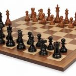 British Staunton Chess Set in Ebonized Boxwood & Golden Rosewood with Walnut Chess Board – 3″ King