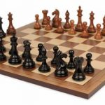 Fierce Knight Staunton Chess Set in Ebonized Boxwood & Golden Rosewood with Walnut Chess Board – 3″ King