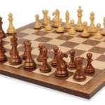 Fierce Knight Staunton Chess Set in Golden Rosewood & Boxwood with Walnut Chess Board – 3.5″ King