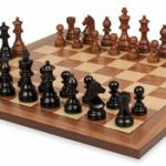 German Knight Staunton Chess Set in Ebonized Boxwood & Golden Rosewood with Walnut Chess Board – 3.75″ King