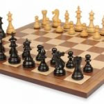Royal Staunton Chess Set in Ebonized Boxwood with Walnut Board – 4″ King
