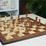 Yugoslavia Staunton Chess Set in Golden Rosewood & Boxwood with Walnut Molded Chess Board – 3.25″ King
