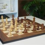 German Knight Staunton Chess Set in Golden Rosewood & Boxwood with Walnut Molded Chess Board – 3.75″ King