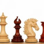 Wellington Staunton Chess Set in African Padauk & Boxwood – 4.25″ King